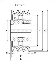 帛扬锥套皮带轮图纸设计图例之TYPE4皮带轮生产厂家