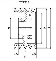 帛扬锥套皮带轮图纸设计图例之TYPE6锥套皮带轮