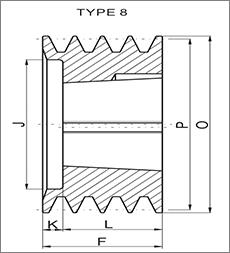 帛扬锥套皮带轮图纸设计图例之TYPE8皮带轮厂家